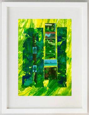 Omaggio agli alberi 3, 2020, Collage, acrilici, pastelli, 20 x 30