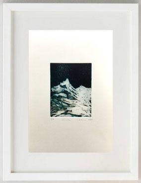 Cervino, 2020, Pastello litografico e acido diretto, acquatinta, 20 x 30
