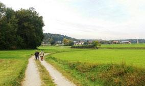 Ursensollen: viele Wanderer auf dem Rückweg, kurz vor Stockau