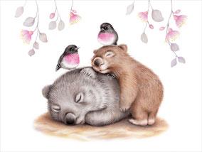 """Wombat Cuddles"" Print $27-79"