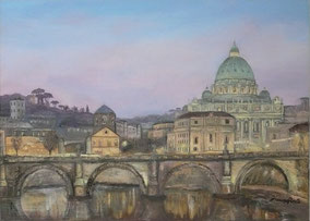 The urbe illuminated of the art, oil on canvas, 50x70 cm, 2014