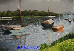 the harbour argenteuil, copia d'autore Gustave Caillebotte, olio su tela cm 35x50 anno 2008