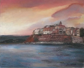 Detail of the old town of Vieste, oil on canvas, 40x50cm, 2012