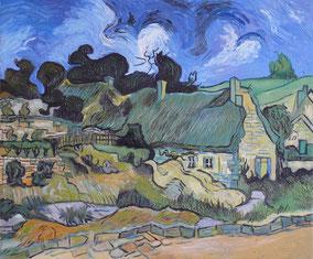 cottages with thatched Cordeville, Vincent Van Gogh, oil on canvas, 50x60 cm, 2014