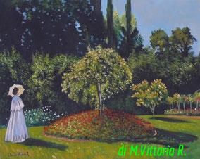 Signora in giardino a Sainte Adresse, C.Monet,olio su tela cm 40x50, 2014 non disponibile