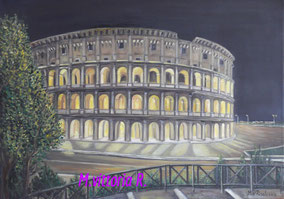 COLOSSEUM IN ROMA, OIL PAINTING ON CANVAS CM 50X70