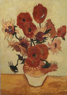 VASE WITH FIFTEEN SUNFLOWERS,  VINCENT VAN GOGH, OIL ON CANVAS 70X100 CM, YEAR 2015
