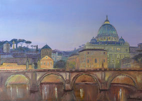 ROME, ILLUMINATED BY ART, OIL ON CANVAS, 50X70 CM, YEAR 2015