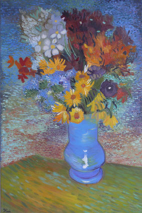 VASE WITH ANEMONES AND DAISIES,  VINCENT VAN GOGH, OIL ON CANVAS, 40X60 CM, YEAR 2014