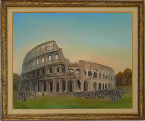 COLISEUM FRAME WITH TROMPE L'OEIL, OIL ON CANVAS, 50X70 CM, YEAR 2014