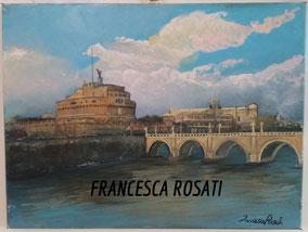 ROMA, CASTEL SANT'ANGELO, OLIO SU TELA 30X40 CM, ANNO 2015