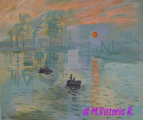impression soleil levant, copia d'autore C.Monet, olio su tela cm 50x60 anno 2016 NON DISPONIBILE