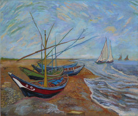 fishing boats on the beach in Sainte-Maries,  Vincent Van Gogh, oil on canvas, 50x60 cm, 2013