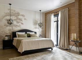 шторы на заказ, шторы в деревянном доме, купить шторы, штора спальня