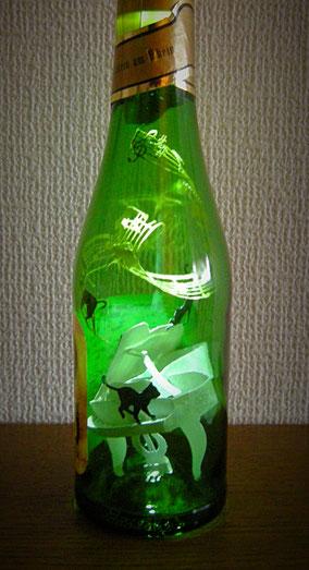 切り絵ボトルアート・猫・ピアノ・楽譜