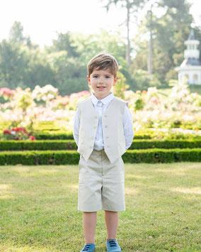Bermuda cérémonie garçon coton beige Fil de Legende. Magasin vêtements cérémonie enfants Paris, Neuilly-sur-Seine.