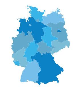 Deutschlandkarte, PLZ-Gebiete
