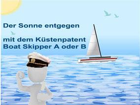 Boat Skipper A Bootsführerschein  Boat Skipper B Yachtführerschein Kurs Prüfung smart easy Küstenpatent