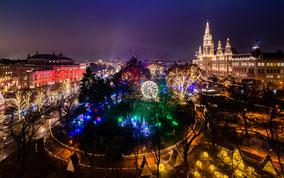 Wien Weihnachtsmarkt Christkindlmarkt Advent romantik Hotspot Bussiplatz Rathaus Rathausplatz Rathauspark