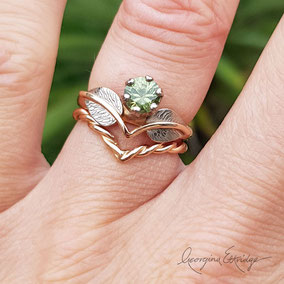 Leaf Engagement ring Bridal Set Rose Gold