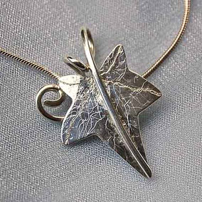 Ivy Leaf & Curled Tendril Pendant Necklace