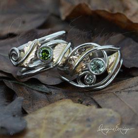 Beech & Oak Leaf Wedding Rings