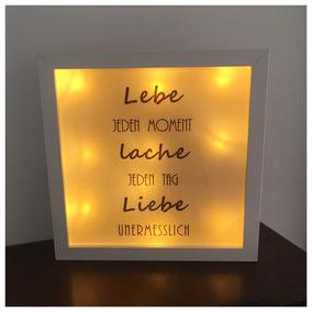 LED Bilderrahmen, LED mit verschiedenen Texten, LED Bilderrahmen - Lebe jeden Moment, lache jeden Tag, liebe unermesslich