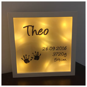 LED Bilderrahmen, LED mit verschiedenen Texten, LED Bilderrahmen - Bilderrahmen mit Kindernamen