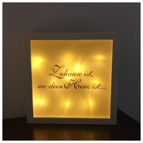 LED Bilderrahmen, LED mit verschiedenen Texten, LED Bilderrahmen - Zuhause ist, wo dein Herz wohnt