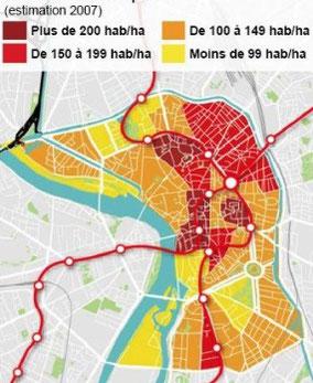 une densité moyenne de 140 habitants/ha, plus que la plupart des quartiers de Toulouse (source Mairie).