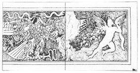 Baalbek : Temple de Bacchus - Dessin partiel du soffite du linteau de la porte d'entrée du pronaos