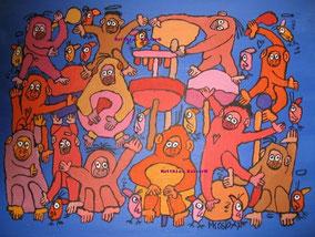 """""""affig Musik machen"""",  Acryl auf Papier, 24/17 cm, 11/05"""