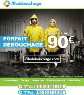 Débouchage wc à partir de 90€/ht