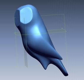 Modelo escultura de pájaro.