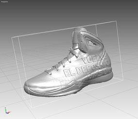 Modelo de Zapatilla Nike, con inscripción publicitaria