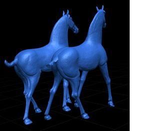Modelo 3D de un para de caballos