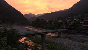 丹波川(多摩川)の夕景
