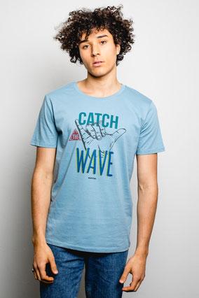 CATCH THE WAVE BLEU - TEE-SHIRT