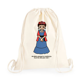ICONS ICONES FRIDA KAHLO ILLUSTRATION SAC A DOS TOTE BAG / CREATION ORIGINALE © Stephanie Gerlier / T FOR TIGER