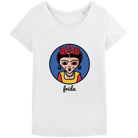 ICONS ICONES FRIDA KAHLO ILLUSTRATION T-SHIRT / CREATION ORIGINALE © Stephanie Gerlier / T FOR TIGER