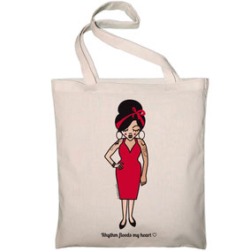 ICONS ICONES TOTE BAG TRIBUTE AMY WINEHOUSE ILLUSTRATION © Stephanie Gerlier / T FOR TIGER