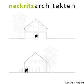 Schnitt und Ansicht Monterkampshof in Neukirchen-Vluyn