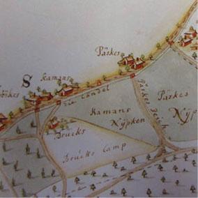 Auschnitt Kartendarstellung 1723 (Original im Museum N-V)
