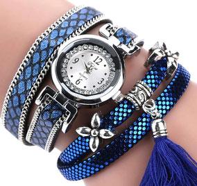 montre multi-rangs bracelet pour femme bleu tendance