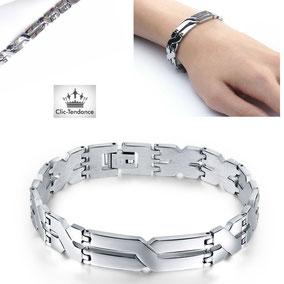 bracelet géométrique acier pour mec