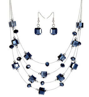 Collier multi-rangs cube bleu