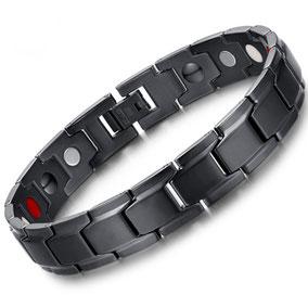 bracelet magnetique homme hematite acier inox noir mat