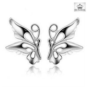 boucle d'oreilles fille papillon argent