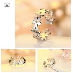 anneau fleur argenté pour fille