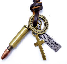 collier cuir cartouche de fusil